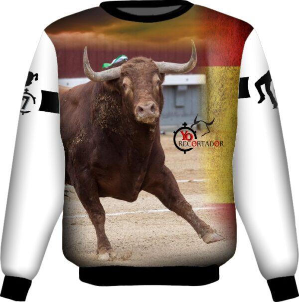 Sudadera con toro colorado en plaza de toros
