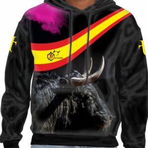 Sudadera con capucha con imagen de toro bravo