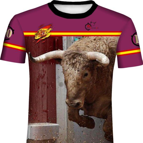 Camiseta taurina con toro bravo saliendo de toriles